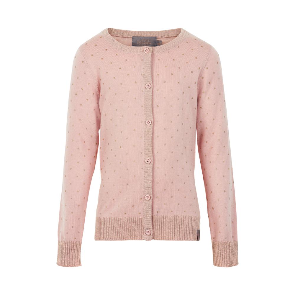 Roze vestje met gouden stipjes